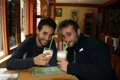 Having a pisco sour with Xavi & Sergio